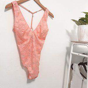 Victoria's Secret Womens Peach V Neck Sleeveless Swim Wear One Piece Size Medium
